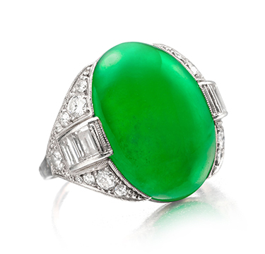 An Art Deco Burmese Jade and Diamond Ring, circa 1925