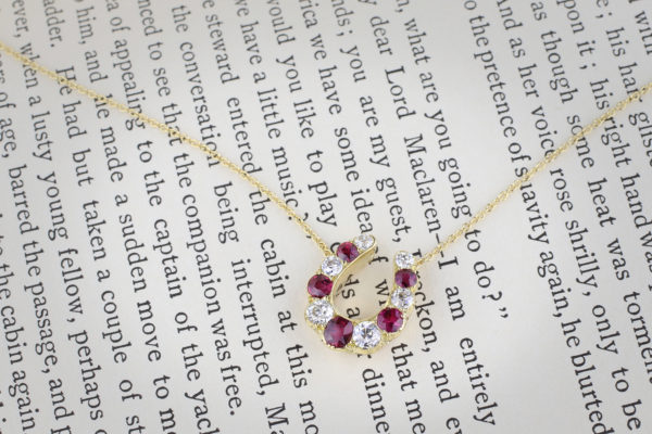Diamond And Ruby Horseshoe Necklace