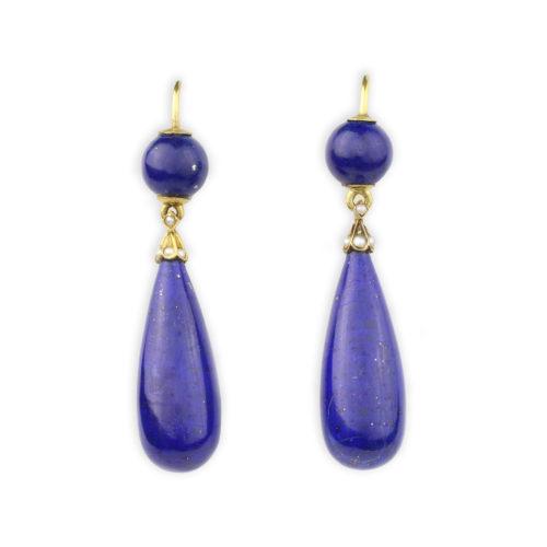 Lapis Lazuli And Pearl Ear Pendants