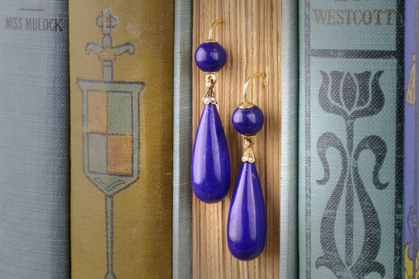 Lapis Lazuli And Pearl Ear Pendants