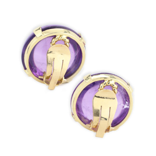 A Pair of Amethyst and Gold Ear Clips