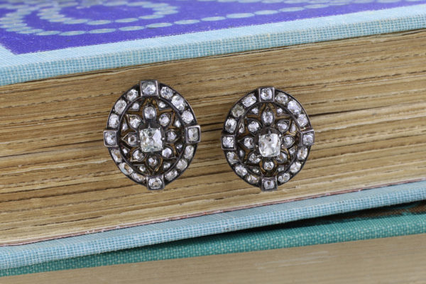 Antique Diamond Set Silver And Gold Earrings