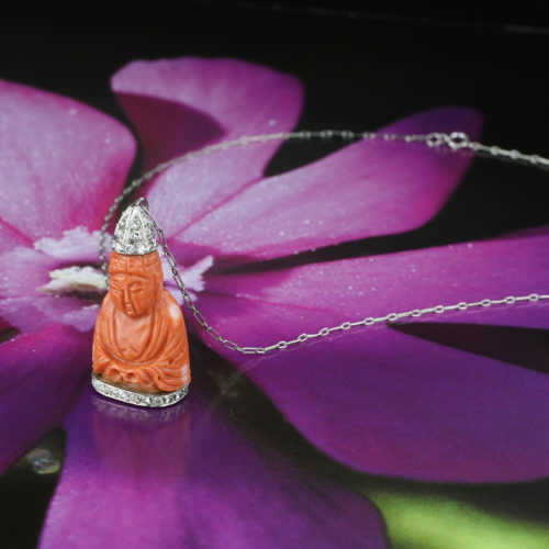 Carved Coral And Diamond Pendant