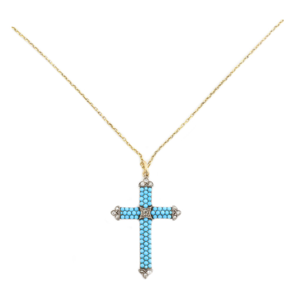 Turquoise and Diamond Cross Pendant Necklace