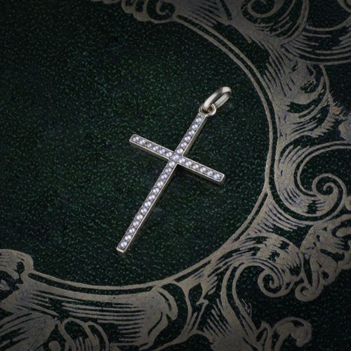 Antique Seed Pearl Cross Pendant