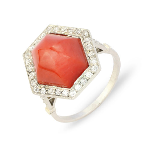 Art Deco Coral and Diamond Ring