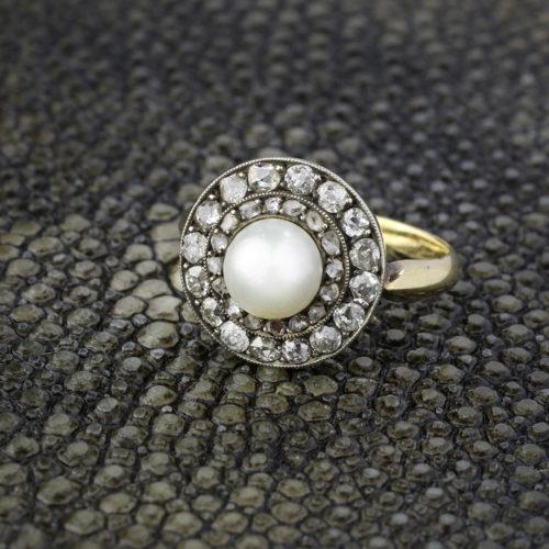 Natural Pearl And Diamond Ring