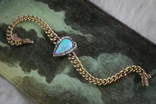 Opal And Diamond Heart Bracelet
