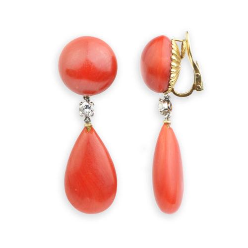 Bulgari Diamond and Coral Ear Pendants