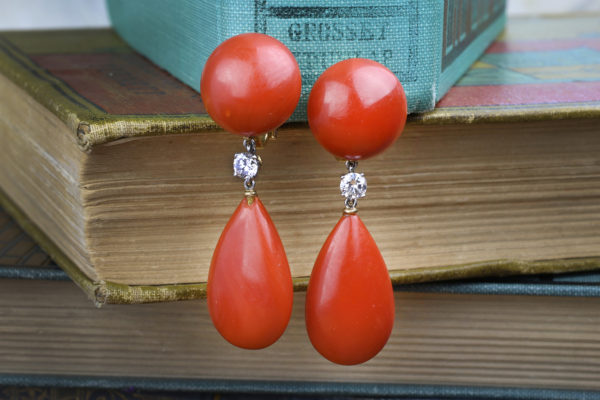 Bulgari Diamond And Coral Ear Pendants