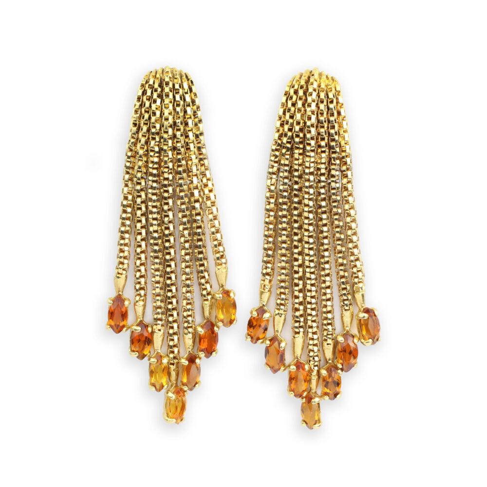 Gold and Citrine Fringe Ear Clips