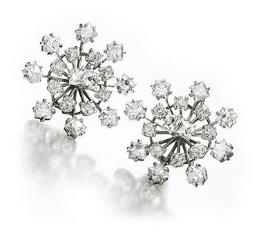 A Pair of Diamond Spray Ear Clips, by Cartier, circa 1950