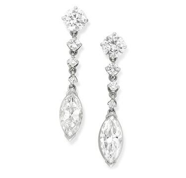 A Pair of Diamond Ear Pendants, set with marquise-cut diamond drops