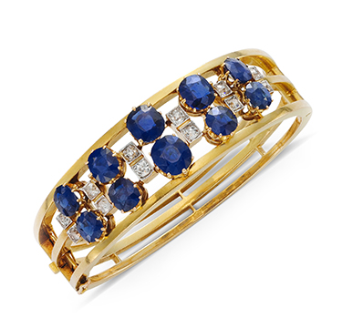 An Antique Sapphire and Diamond Bangle Bracelet