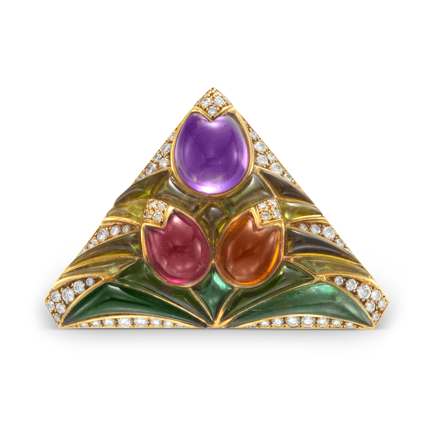 A Multi-gem and Diamond Flower Brooch, by Bulgari, circa 1980