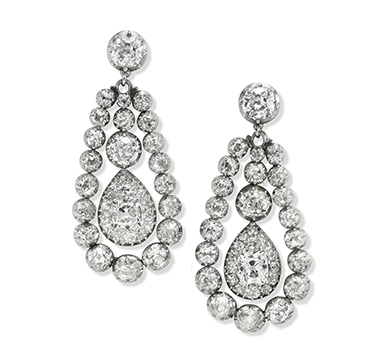 A Pair of Antique Diamond Ear Pendants, circa 1890