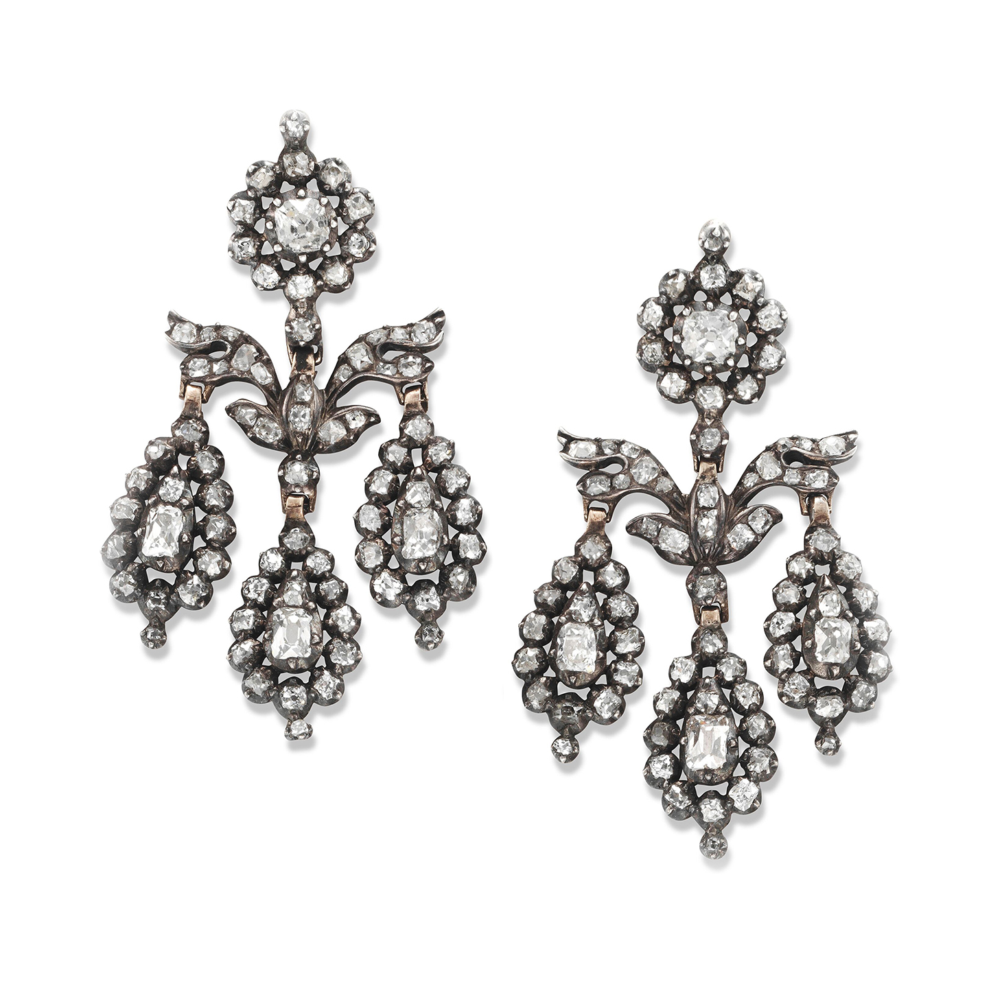 A Pair of Old Mine-cut Diamond Girandole Ear Pendants, circa 1850