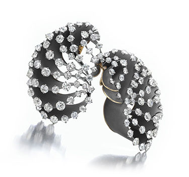 A Pair Of Titanium And Diamond Ear Clips, By SABBA