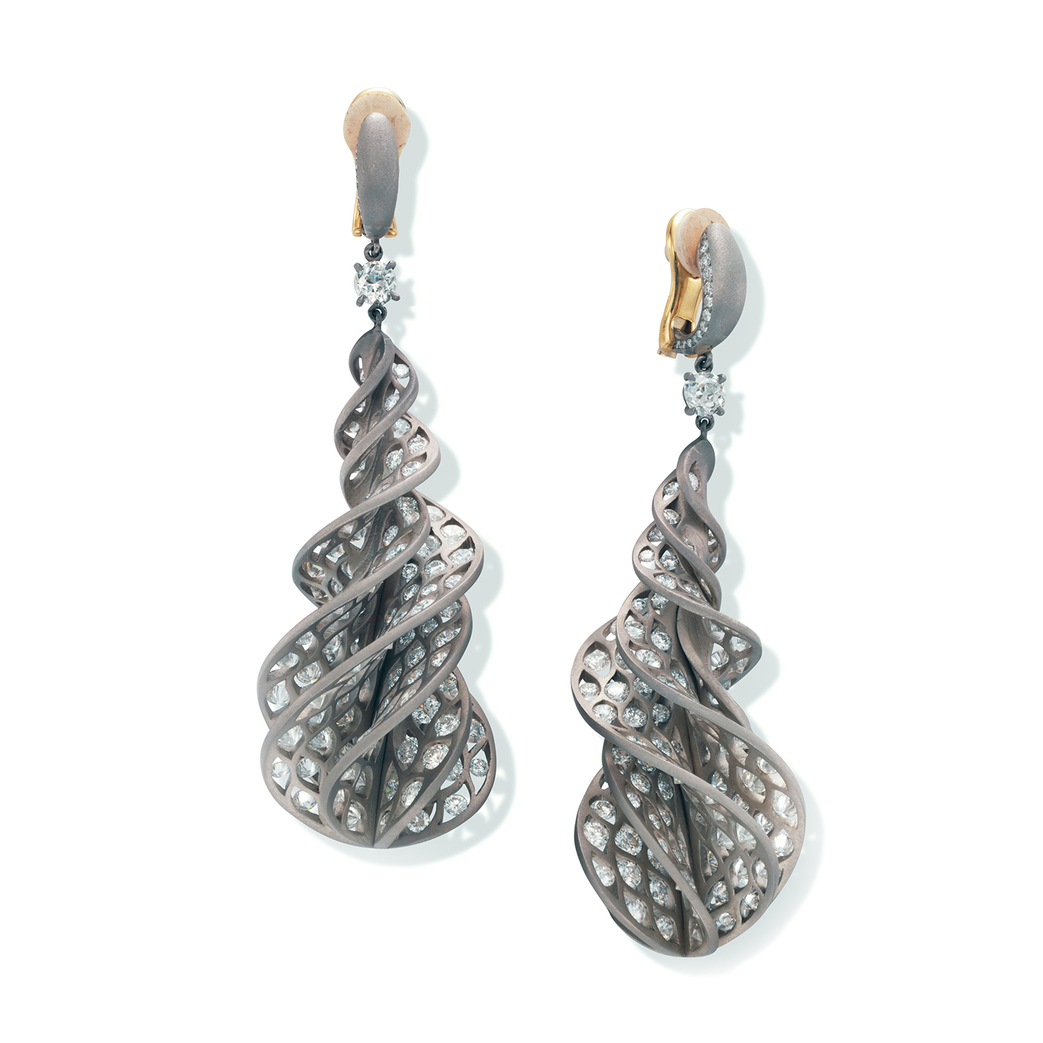 A Pair of Diamond and Titanium 'Twist' Ear Pendants, by SABBA