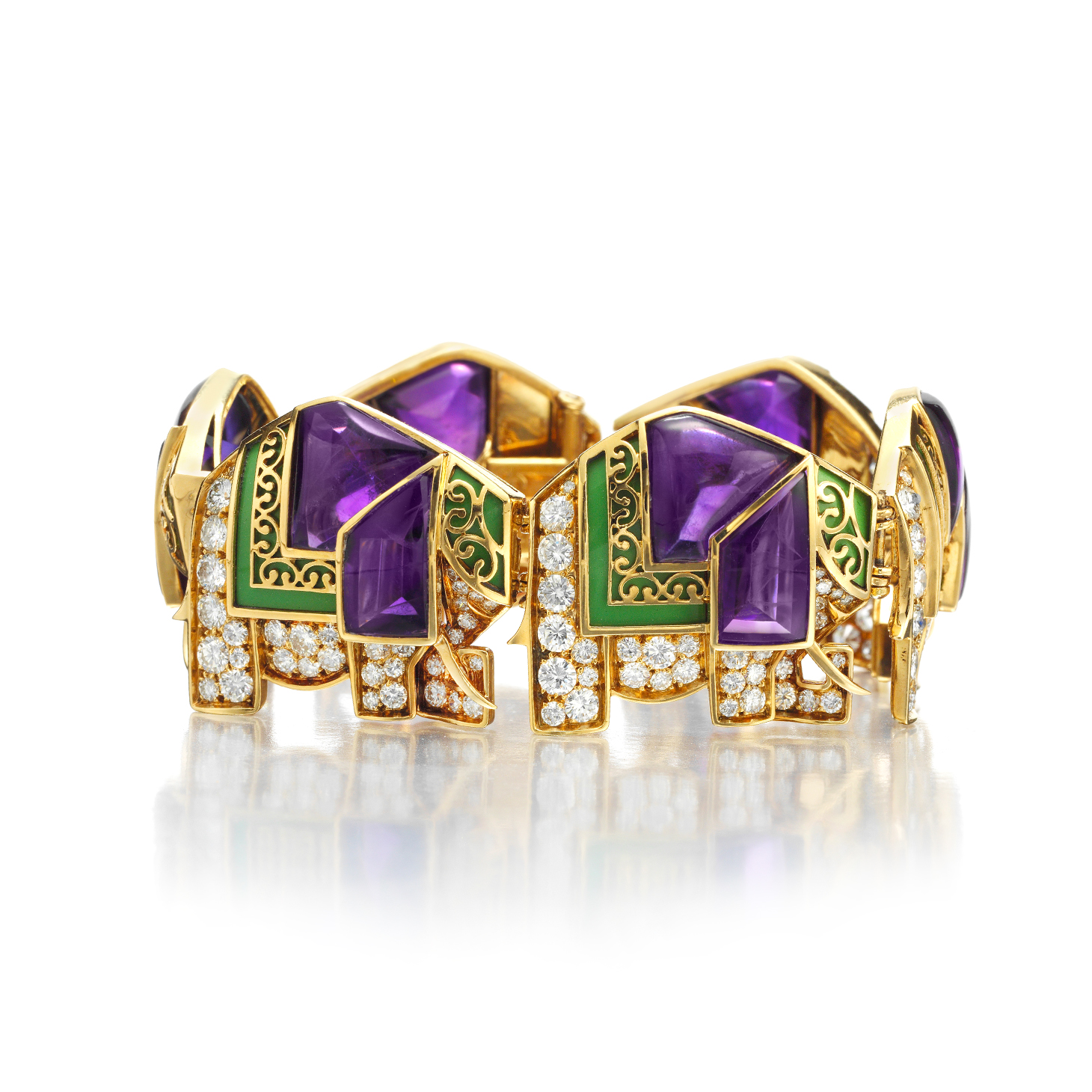 An Amethyst, Enamel and Diamond 'Elephant' Bracelet, by Bulgari, circa 1970