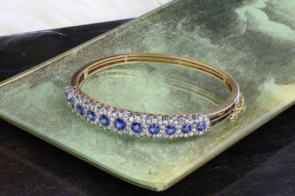 A Victorian Sapphire And Diamond Bangle Bracelet