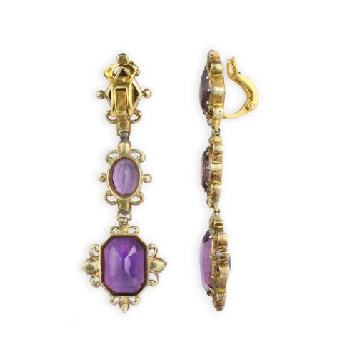 Antique Amethyst and Diamond Ear Pendants