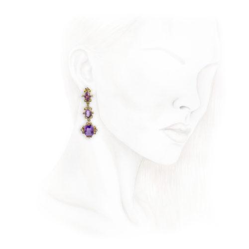 Antique Amethyst and Diamond Ear Pendants