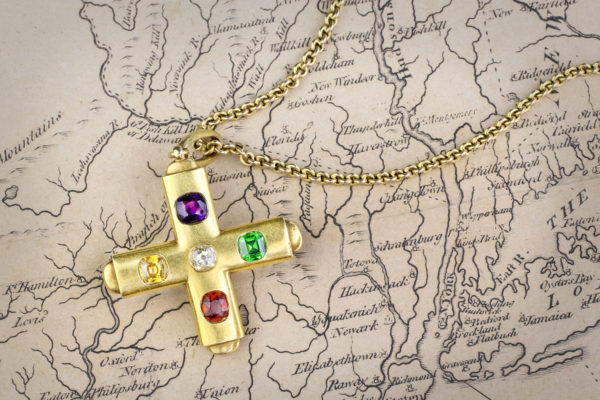 Carlo Giuliano Multi-Gem And Gold Cross Pendant On Chain