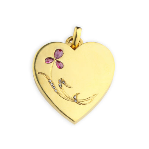 Ruby and Diamond Set Gold Heart Shaped Locket Pendant