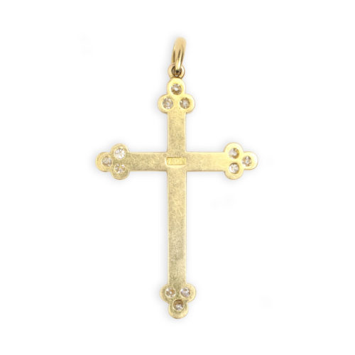Seed Pearl and Diamond Cross Pendant