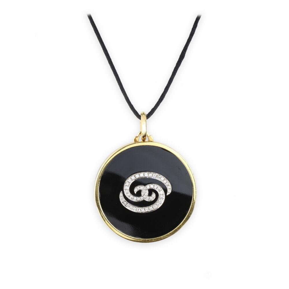 Bulgari Onyx, Diamond And Gold Cancer Zodiac Pendant