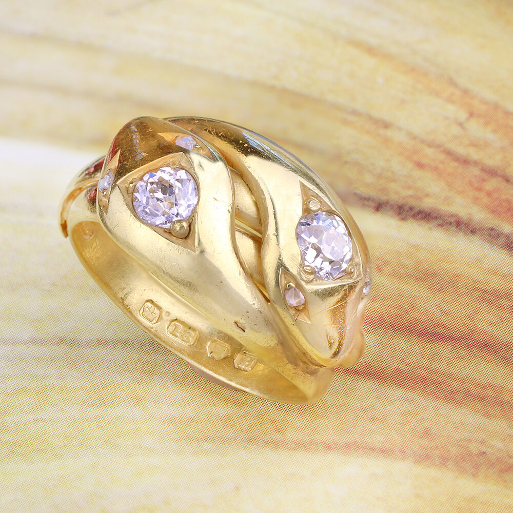 An Antique Gold and Diamond Double Snake Ring