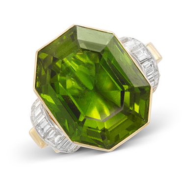 A Retro Hexagonal cut Peridot and Diamond Ring, weighing 50.00 carats
