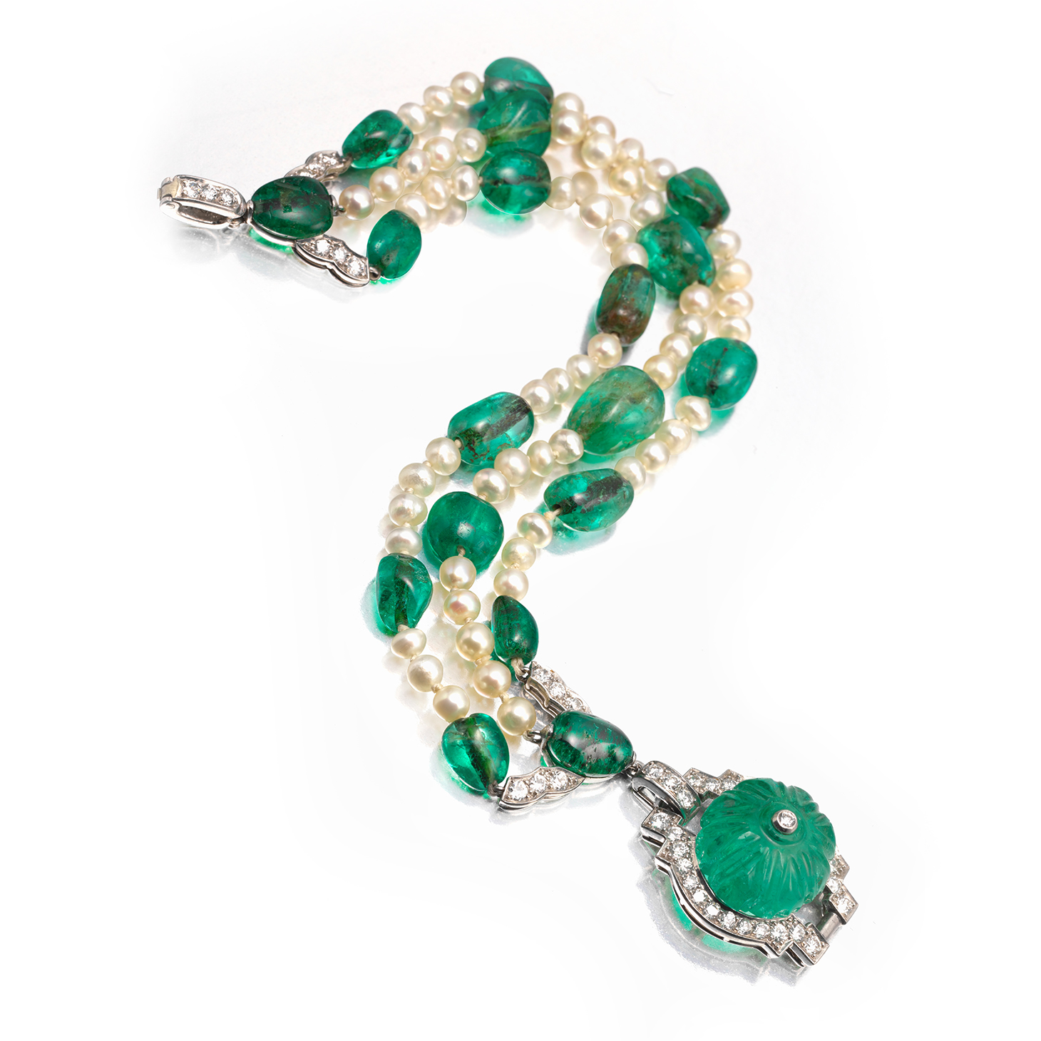 Cartier Art Deco Emerald Bead and Pearl Bracelet, circa 1925