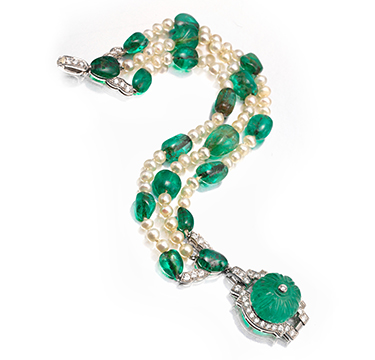 Cartier Art Deco Emerald Bead and Pearl Bracelet, circa 1925