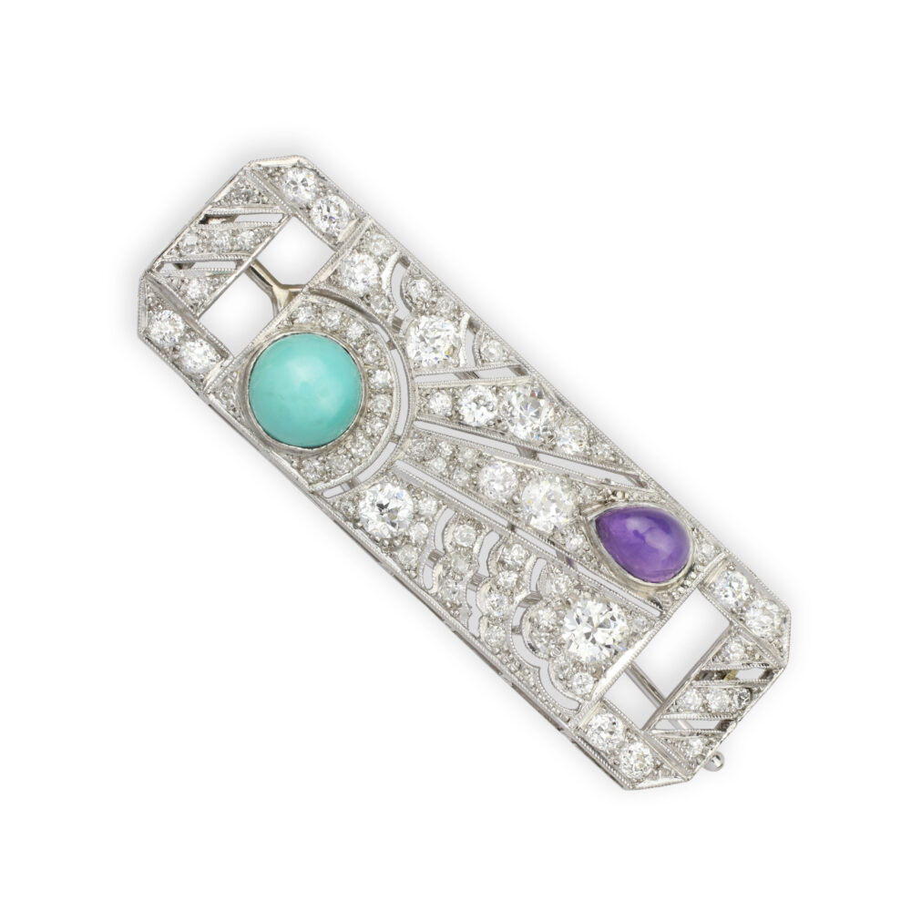A Diamond, Amethyst, Turquoise and Platinum Barrette