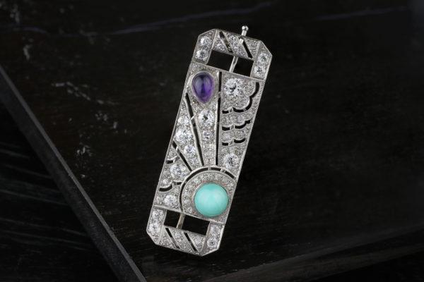 A Diamond, Amethyst, Turquoise And Platinum Barrette