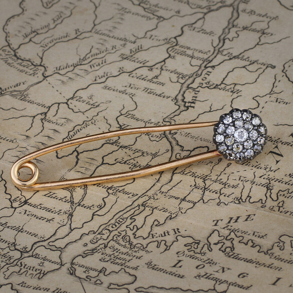 An Antique Diamond Set Spring Pin