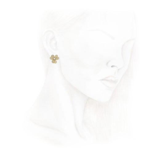 Pair of Gold and Diamond Ear Clips