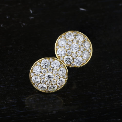 Pair of Gold and Diamond Earrings