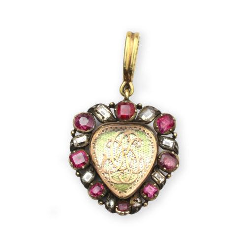 A Rock Crystal, Ruby and Diamond Heart Pendant