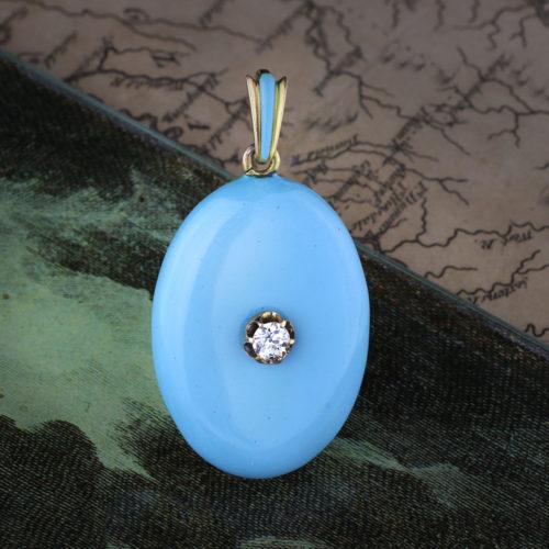 An Antique Diamond, Enamel and Gold Pendant