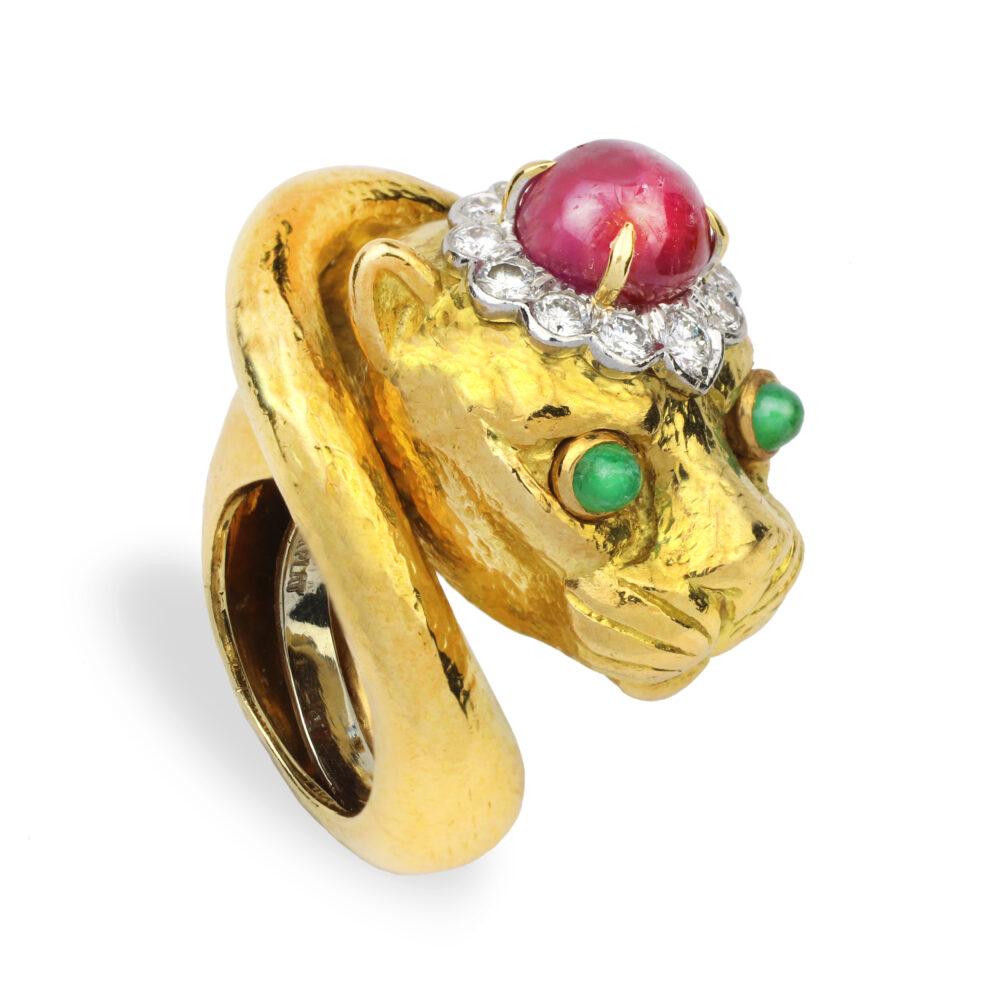 David Webb Multi Gem and Gold Panther Ring