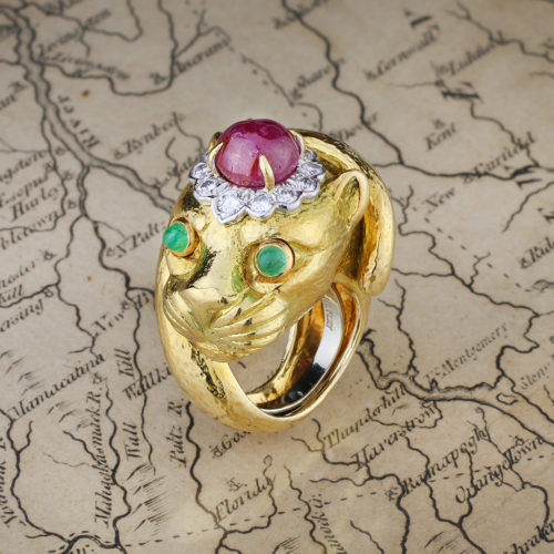 David Webb Multi Gem and Gold Panther Ring