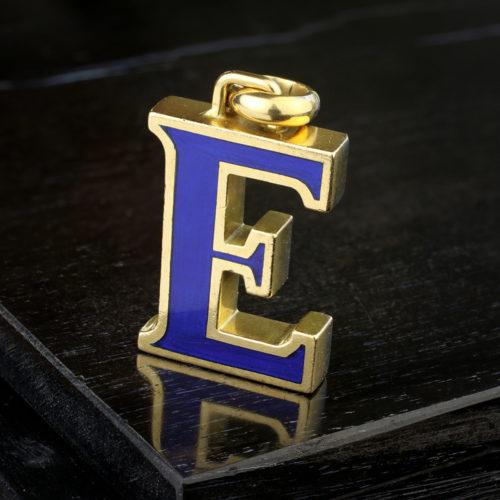 Gucci Enamel and Gold 'E' Pendant
