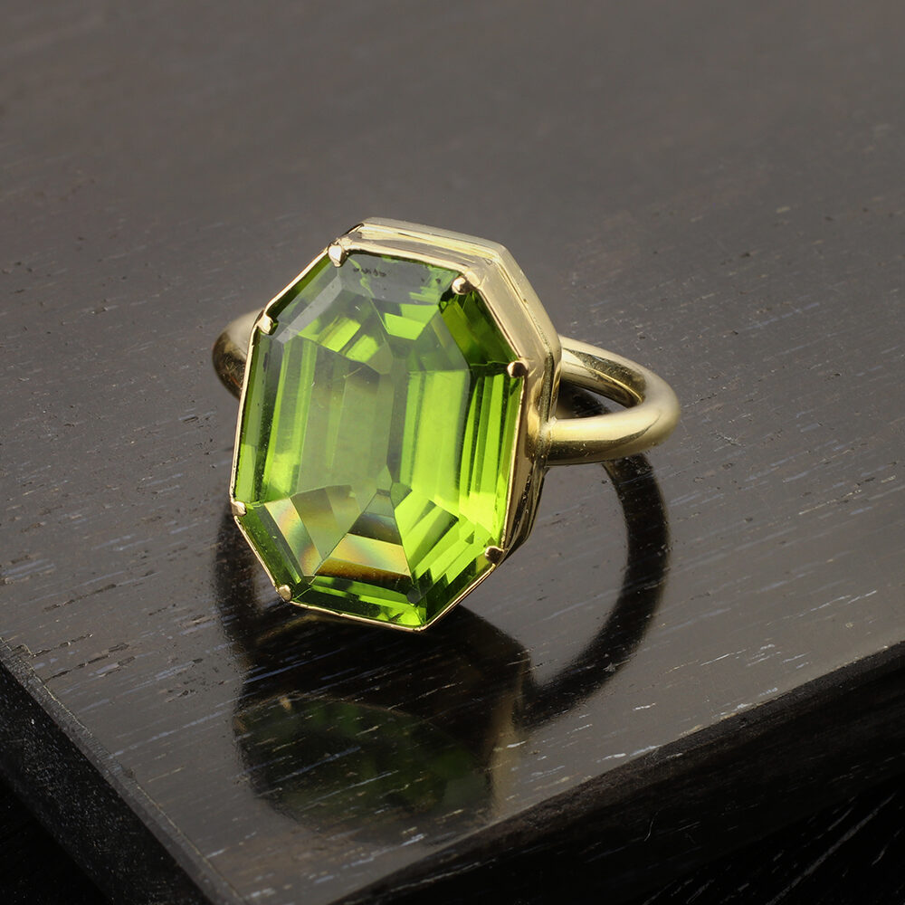 Gold and Octagonal Shaped Peridot Ring