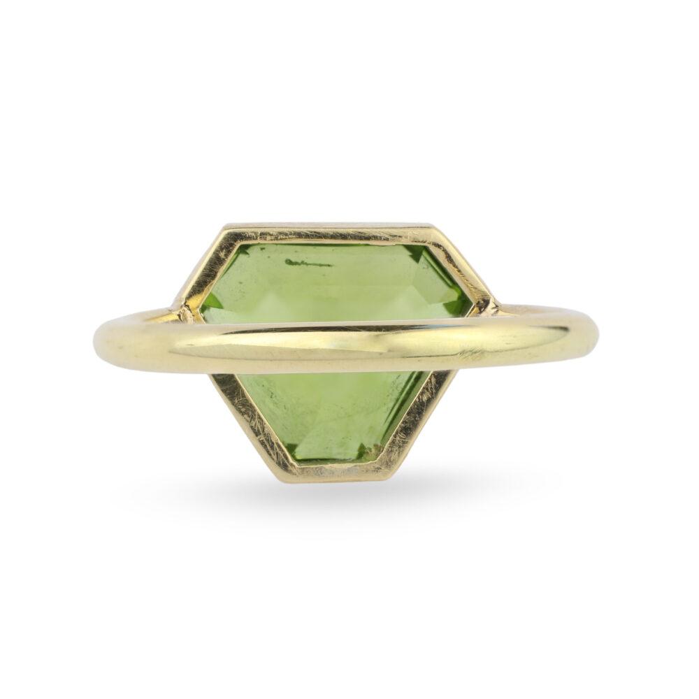 Gold and Shield Shape Peridot Ring
