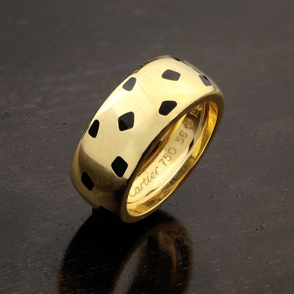 "Cartier 'Panthere de Cartier"" Enamel and Gold Ring"