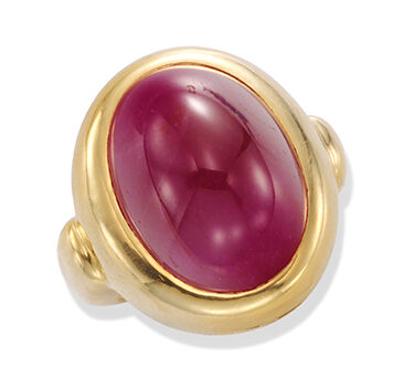 A Cabochon Ruby And Gold Ring, Of 29,25 Carats, By Bulgari