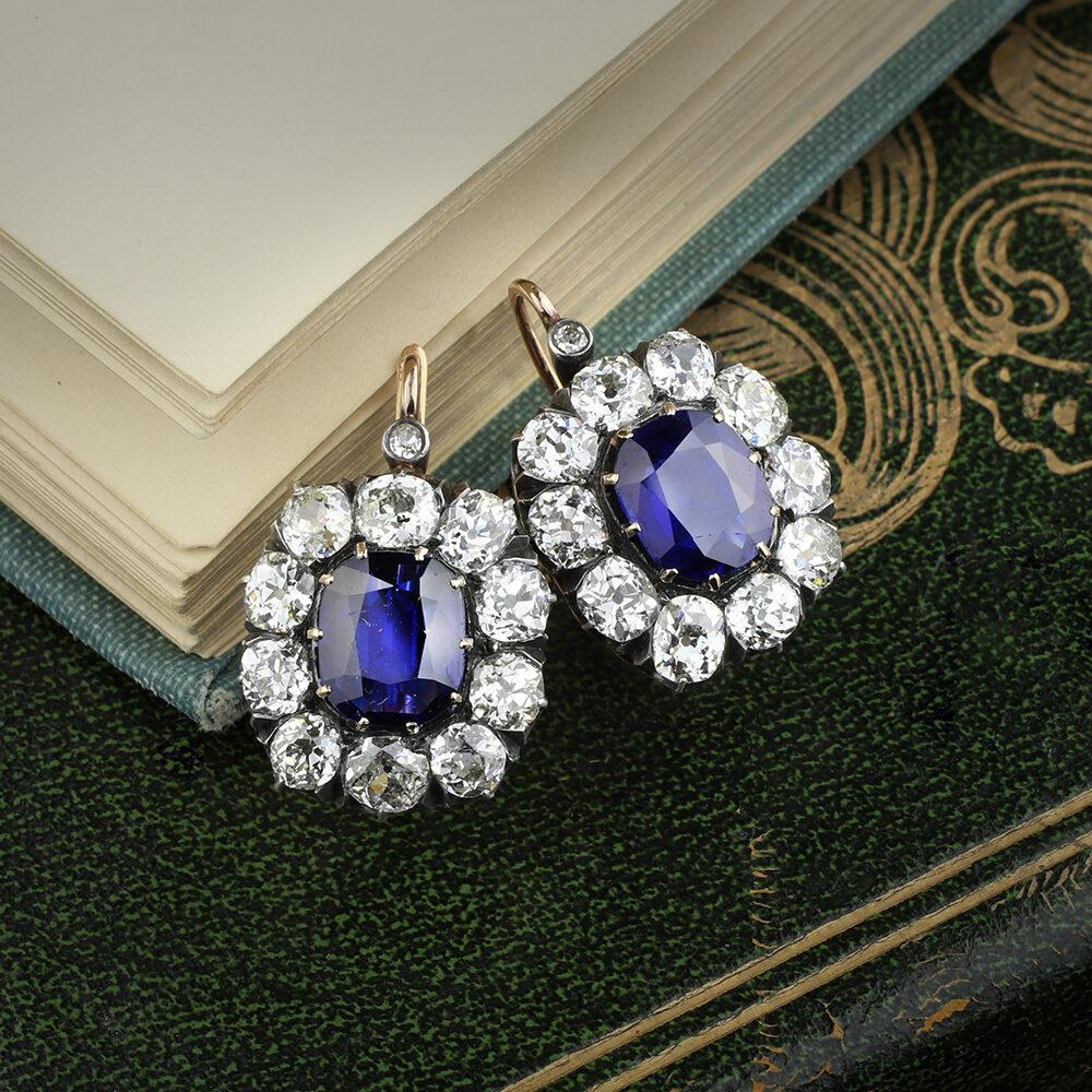 Antique Sapphire and Diamond Ear Pendant